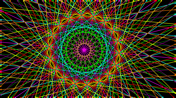 An Octadecagon, with Its Circumscribed Circle, and the Lines Containing All of Its Sides and Diagonals