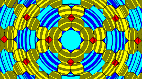 Rippling Tessellation Using Squares, Regular Octagons, and Octaconcave, Equilateral Hexadecagons