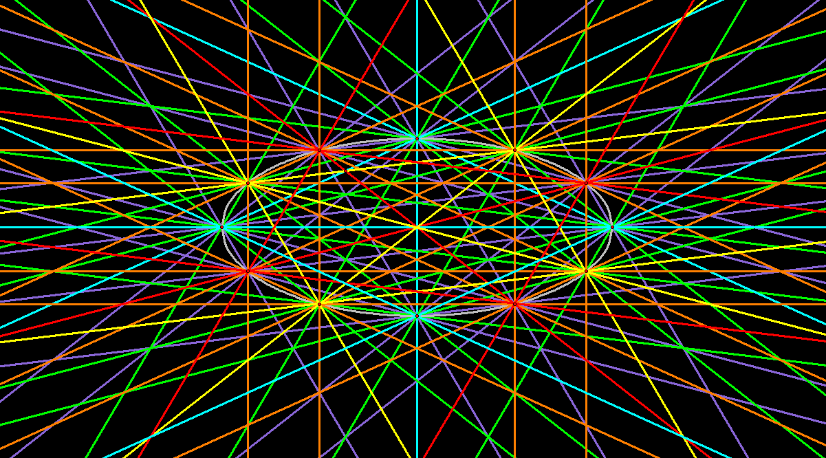 Elliptical Dodecagon with Sides and Diagonals Extended As Lines