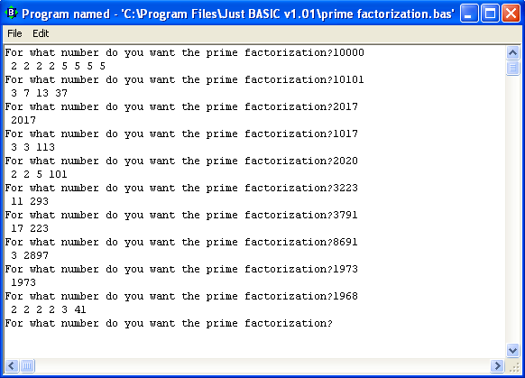 A BASIC Program To Factor Numbers Into Primes