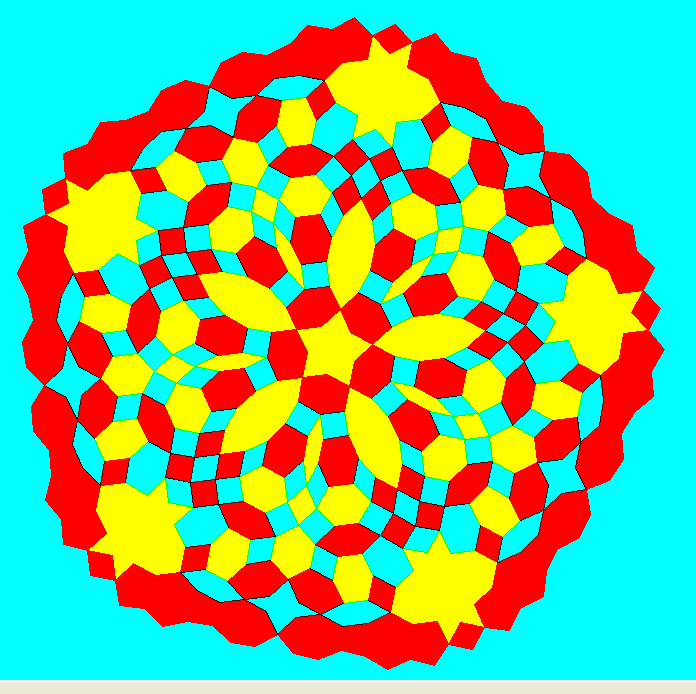 A Pentagonal Mandala In Primary Colors