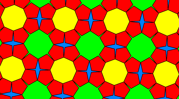 Tessellation Featuring Regular Octagons and Pentagons, As Well As Two Types of Non-Convex, Equilateral Polygons