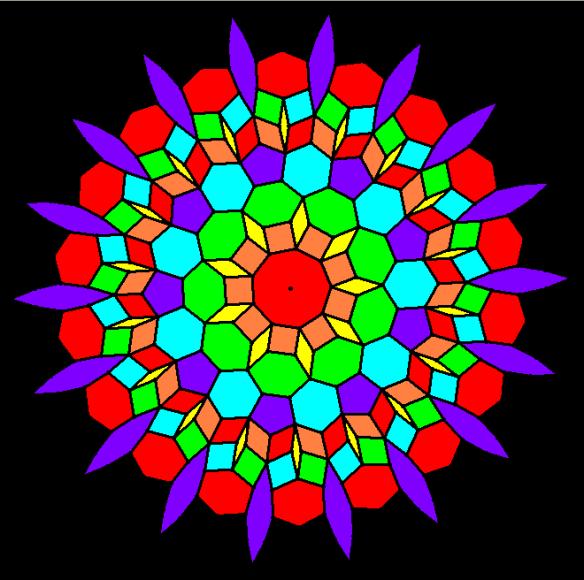 Various Colorings of a Enneagon-Centered Mandala