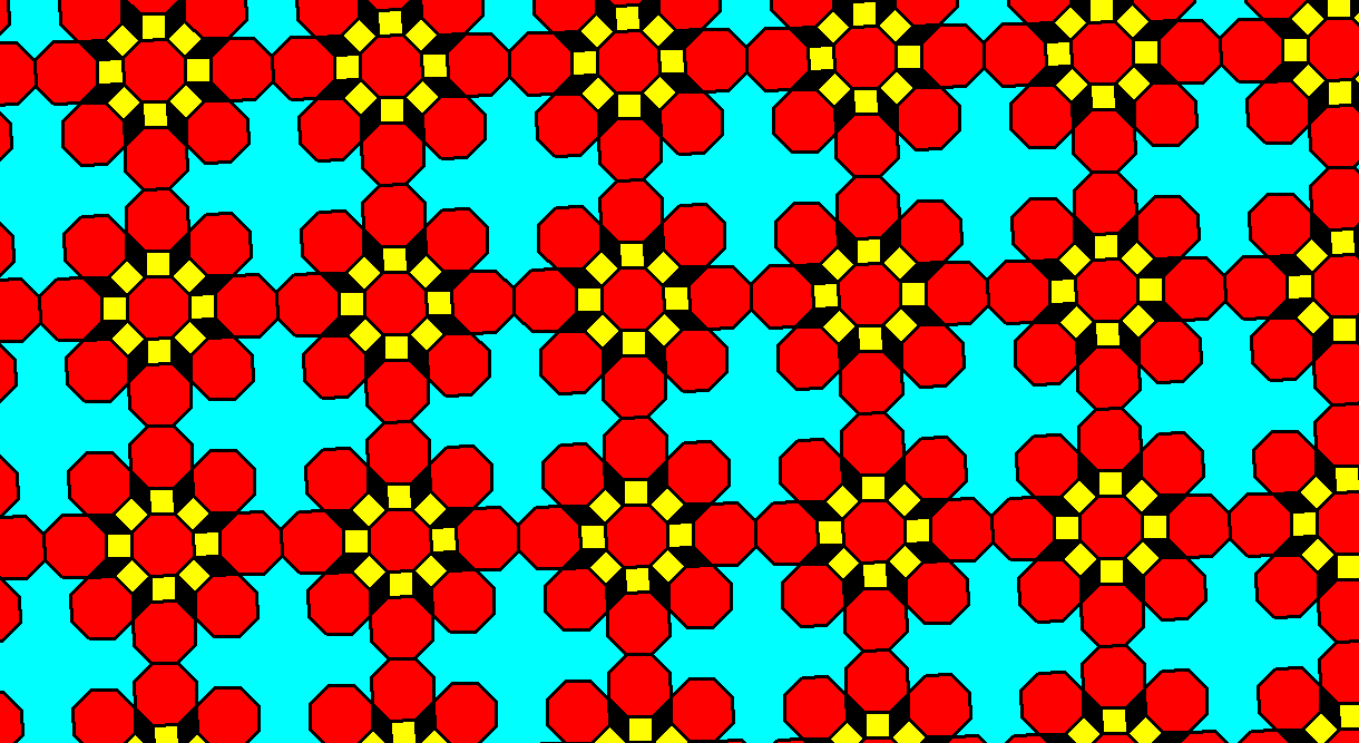 Regular Octagons Squares Rhombi and Nonconvex Hexakaitriacontagons