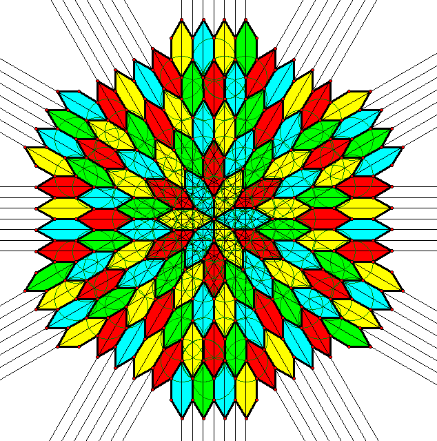 frequency 6 radial tessellation of hexagons with construction lines