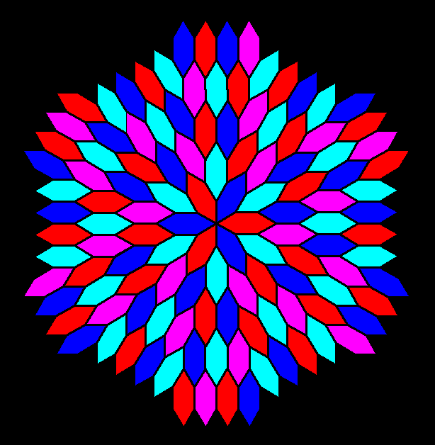 frequency 6 radial tessellation of hexagons without construction lines. four colors version 2png