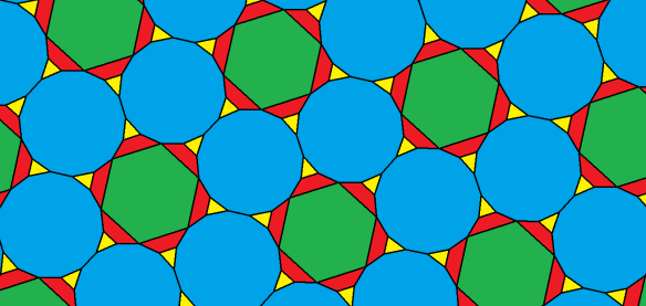 Tessellation featuring regular pentadecagons and hexagons, as well as isosceles trapezoids and triangles