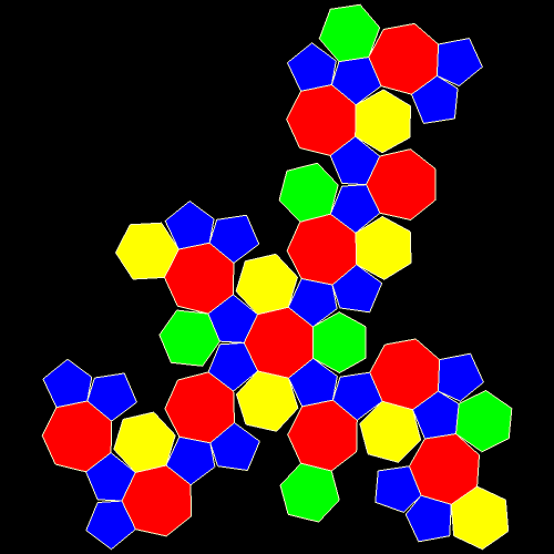 symmetrohedron featuring heptagons hexagons and pentagons net
